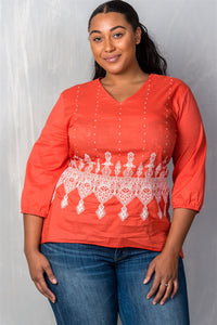 Ladies fashion plus size orange & cream plus size embroidered hi-low top-1XL-MY UPSCALE STORE