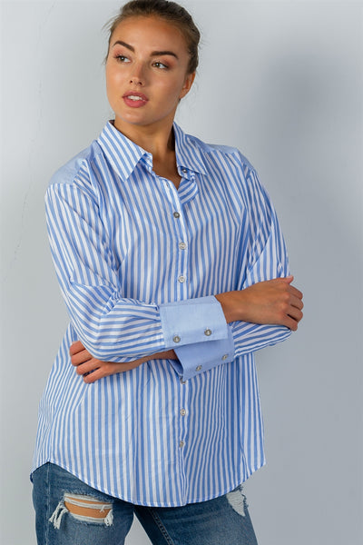 Ladies fashion sky blue stripe print convertible cold-shoulder shirt-S-MY UPSCALE STORE