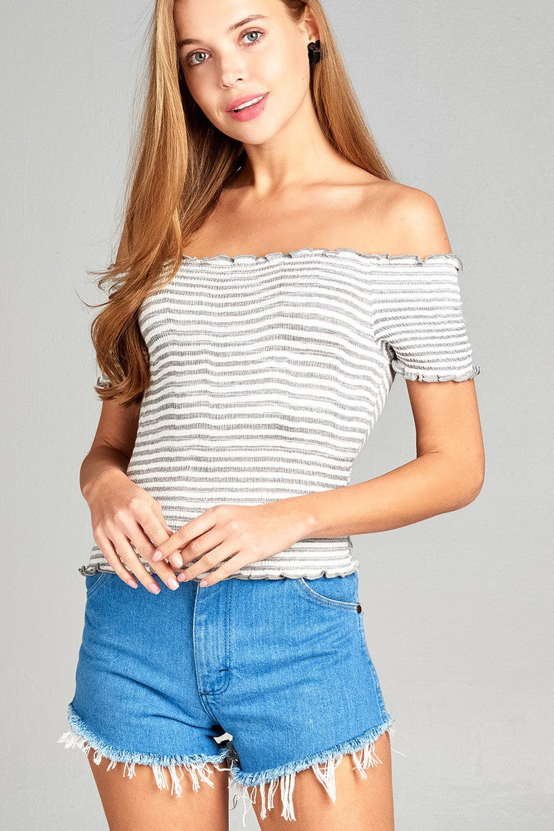 Ladies fashion short sleeve off the shoulder smocked detail stripe crop rayon spandex top-Off White/Heather Grey-S-MY UPSCALE STORE