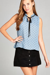 Ladies fashion sleeveless contrast self tie dot printed wool dobby woven top-Soft Blue/Black-S-MY UPSCALE STORE