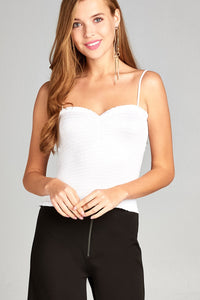 Ladies fashion smocked detail front shirring w/strap cami crop rayon spandex top-Off White-S-MY UPSCALE STORE