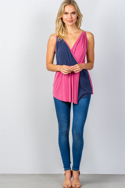 Ladies fashion raspberry & navy pink color-block v-neck crossover top-S-MY UPSCALE STORE