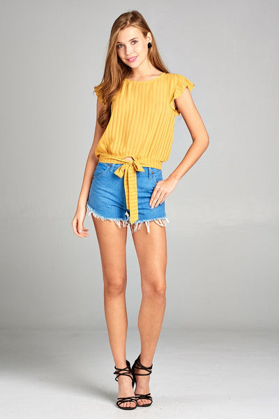 Ladies fashion short ruffle sleeve round neck front self tie hem w/back button woven top-Yolk Yellow-S-MY UPSCALE STORE