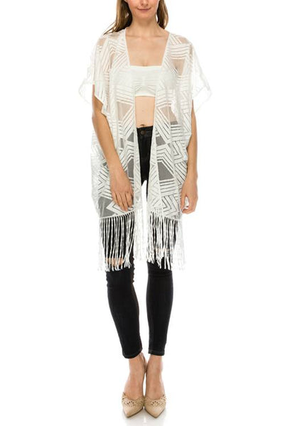 Pattern sheer fringe hem open cardigan-Black-MY UPSCALE STORE