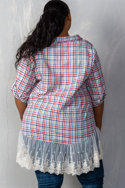 Ladies fashion plus size gingham lace-hem plus size top-Thyme Mint-1XL-MY UPSCALE STORE