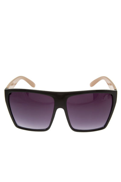 Oversize metal acent temple sunglasses-Purple/Black-MY UPSCALE STORE