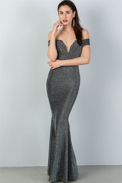 Ladies fashion black & silver glitter off the shoulder mermaid dress-S-MY UPSCALE STORE