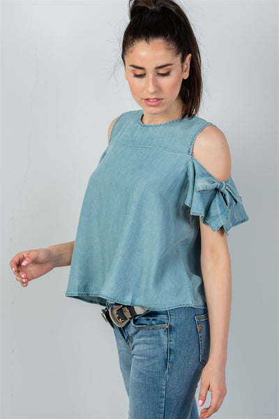 Ladies fashion denim bow tie sleeve cold shoulder top-S-MY UPSCALE STORE