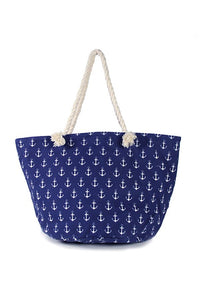 Anchor print tote bag-Blue-MY UPSCALE STORE