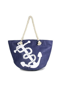 Anchor print beach tote bag-Blue-MY UPSCALE STORE