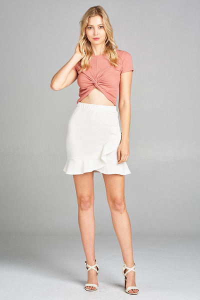 Ladies fashion short sleeve round neck twisted-knot hem ribbed cotton spandex top-Rosy Pink-S-MY UPSCALE STORE
