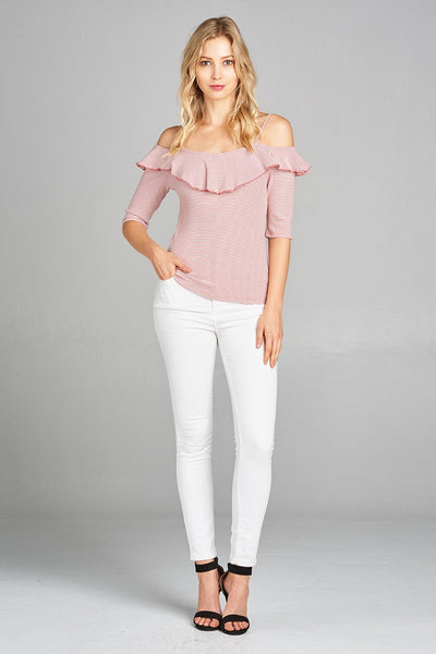 Ladies fashion elbow sleeve open shoulder w/ruffle stripe ribbed cotton spandex top-Off White/Mauve-S-MY UPSCALE STORE