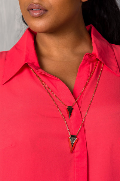 Ladies fashion plus size hidden button down closure v neckline chic necklace included shirt collar.-1XL-MY UPSCALE STORE