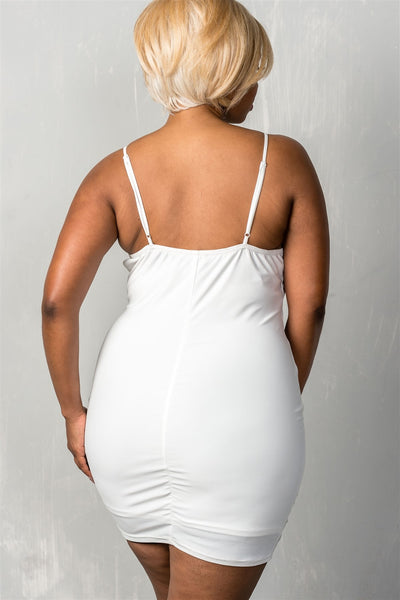Ladies fashion plus size stretchy adjustable straps mini length criss-cross v plunge dress-White-1XL-MY UPSCALE STORE