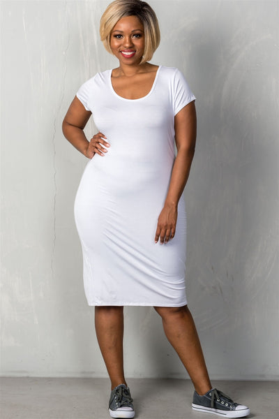 Ladies fashion plus size short sleeves stretchy fitted midi length round neckline dress-White-1XL-MY UPSCALE STORE