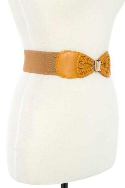 Faux leather bow accent stretch belt-Mustard-MY UPSCALE STORE