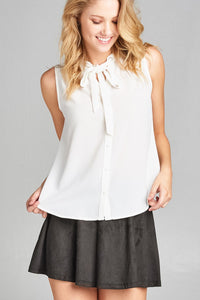 Ladies fashion sleeveless v-neck self tie w/eyelet detail front button woven top-Off White-S-MY UPSCALE STORE