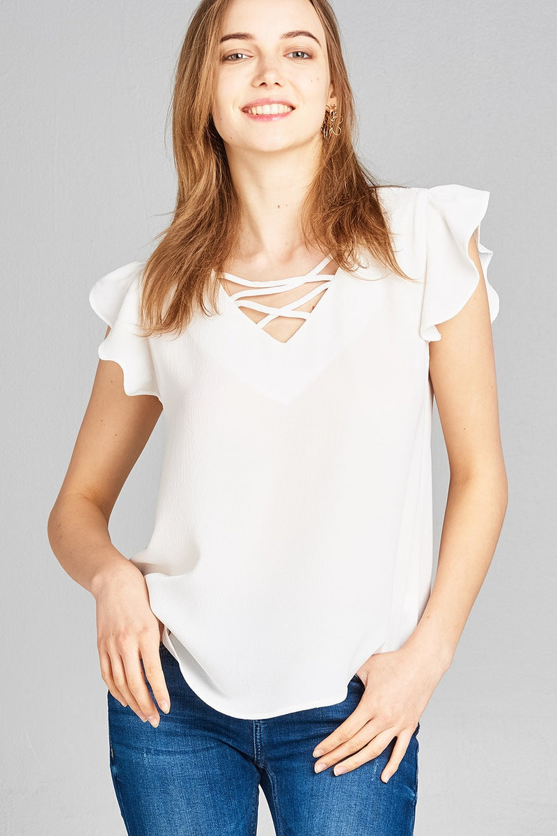 Ladies fashion ruffle sleeve v-neck w/cross strap crepe woven top-Off White-S-MY UPSCALE STORE
