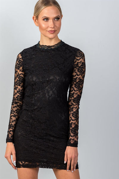 Ladies fashion long sleeve floral lace mock neck bodycon mini dress-XS/S-MY UPSCALE STORE