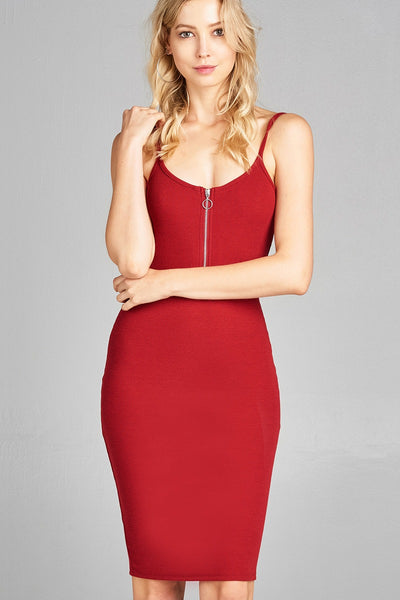 Ladies fashion front zipper detail poly spandex rib cami midi dress-Red-S-MY UPSCALE STORE