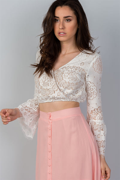 Ladies fashion boho white lace long bell sleeve crop top-S-MY UPSCALE STORE