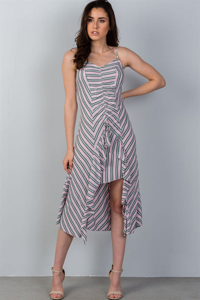 Ladies fashion high low design stripes asymmetrical ruched front midi dress-Red-S-MY UPSCALE STORE