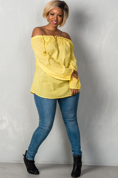 Ladies fashion plus size boho contemporary elastic off the shoulder top-Yellow-1XL-MY UPSCALE STORE