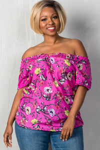 Ladies fashion plus size boho fuchsia floral print elastic neckline off the shoulder top-1XL-MY UPSCALE STORE