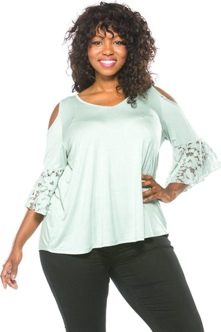 Ladies fashion plus size boho lace bell sleeves cold shoulder top-1XL-MY UPSCALE STORE