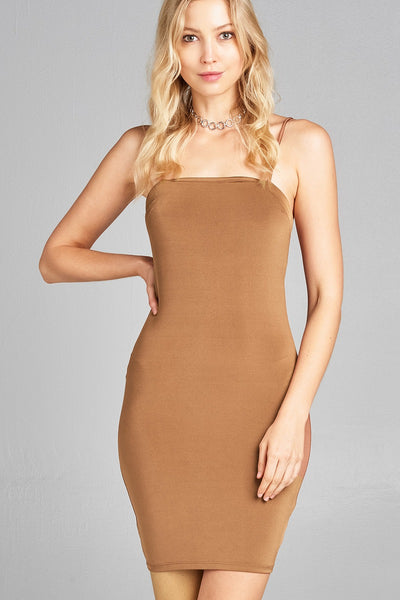 Ladies fashion straight neckline cami mini dress-Camel-S-MY UPSCALE STORE