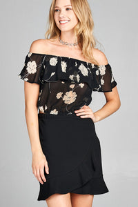 Ladies fashion off the shoulder w/ruffle elastic hem floral print crop woven top-Black-S-MY UPSCALE STORE