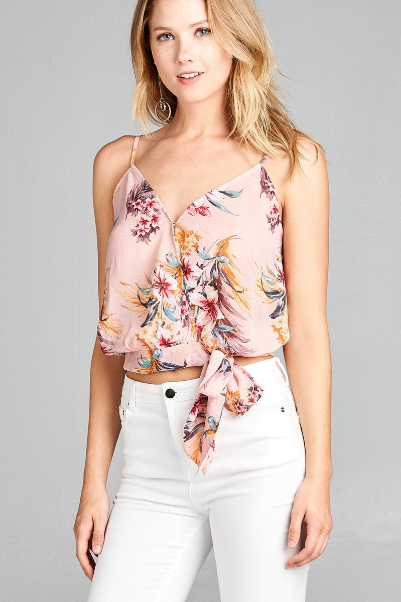Ladies fashion v-neck wrap waist self tie floral print woven cami top-Blush-S-MY UPSCALE STORE