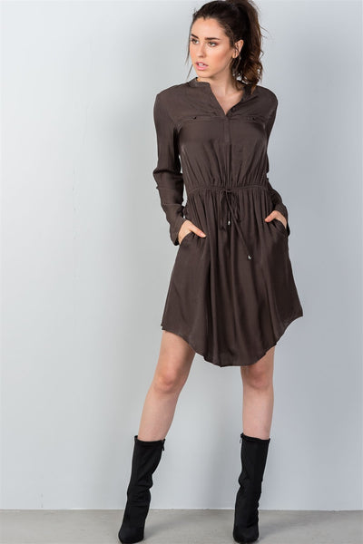Ladies fashion long sleeve button front closure drawstring waist casual dress-S-MY UPSCALE STORE