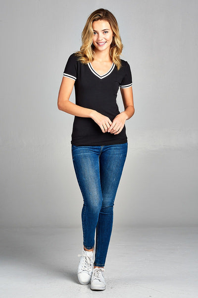 Ladies fashion short contrast ribbed sleeve and collar cotton rayon spandex top-Navy-S-MY UPSCALE STORE
