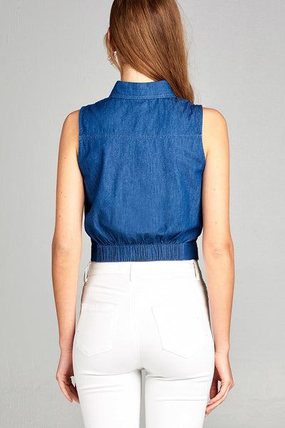 Ladies fashion sleeveless front button and knot detail crop shirt chambray top-S-MY UPSCALE STORE