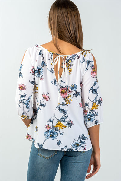 Ladies fashion 3/4 sleeves white & floral print tie back cold shoulder top-S-MY UPSCALE STORE
