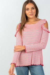Ladies fashion long sleeve stripe ruffled cold-shoulder top-S-MY UPSCALE STORE