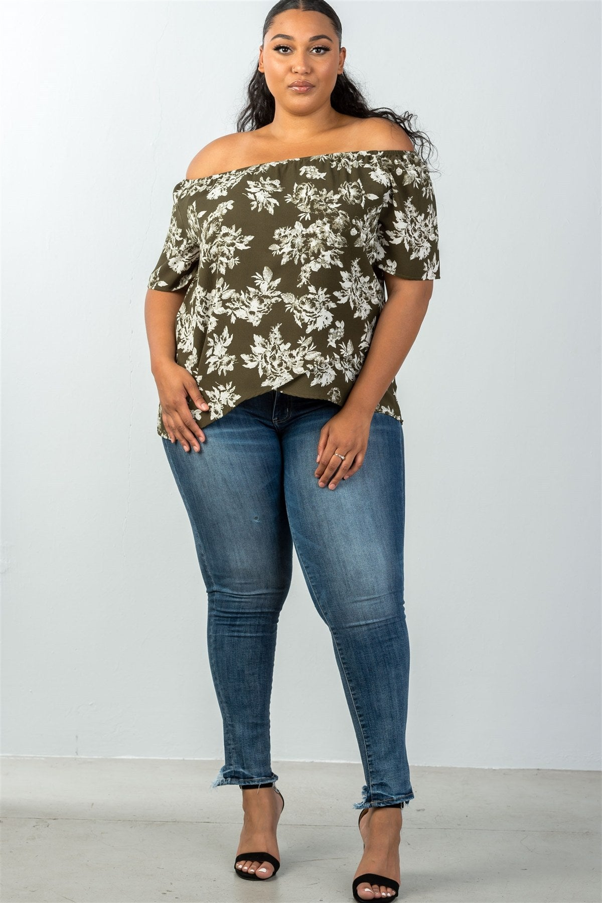 Ladies fashion plus size all over white leaf print overlap front off the shoulder top-1XL-MY UPSCALE STORE