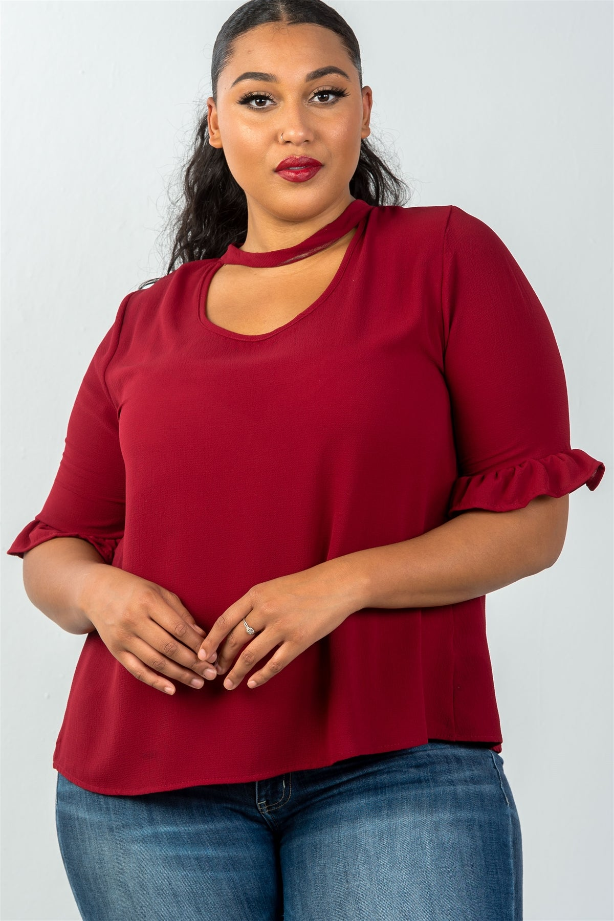 Ladies fashion plus size 3/4 sleeve mock neck keyhole choker top-Red-1XL-MY UPSCALE STORE