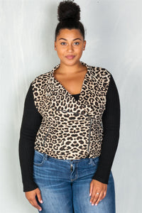 Ladies fashion plus size asymmetrical zipper and neck snap button leopard combo jacket-1XL-MY UPSCALE STORE