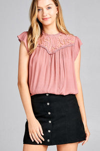 Ladies fashion ruffle sleeve front lace back button w/self tie woven top-Old Rose-S-MY UPSCALE STORE