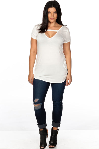 Ladies fashion plus size off white cut out criss cross back top-1XL-MY UPSCALE STORE