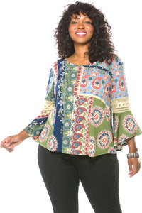 Ladies fashion plus size boho multi color boho contemporary bell sleeve top-1XL-MY UPSCALE STORE