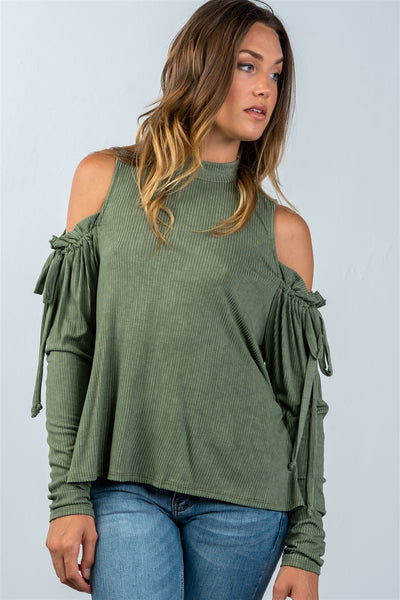 Ladies fashion high neck cold shoulder gathered sleeve top-Wine-S-MY UPSCALE STORE