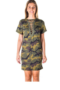 Ladies fashion camo print lace up bandage mini dress-S-MY UPSCALE STORE