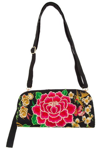 Embroidered ethnic floral clutch bag