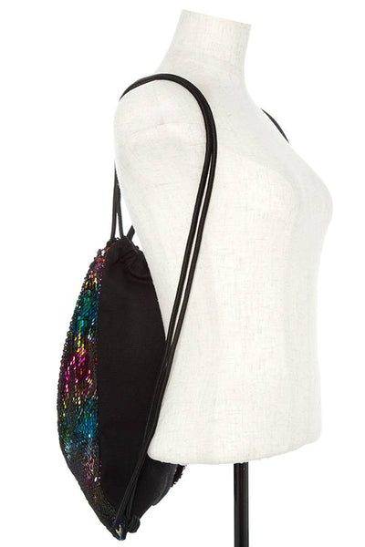 Sequin accent drawstring backpack-Black-MY UPSCALE STORE