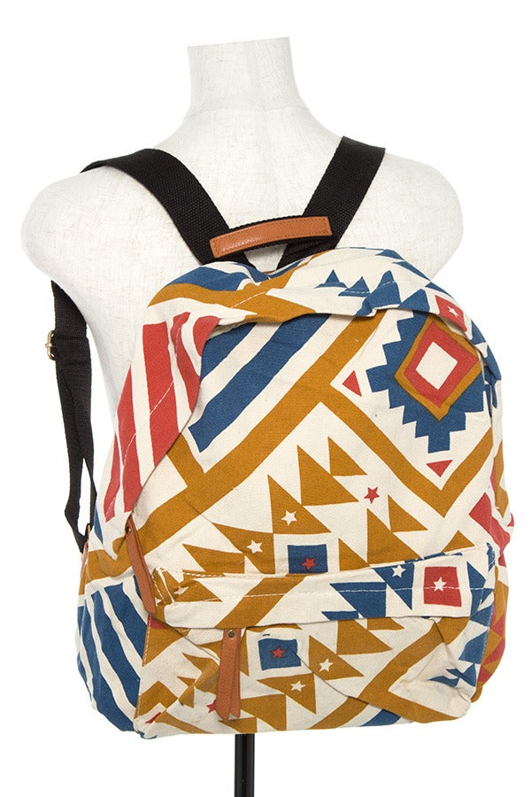 Tribal pattern backpack-Mustard Mix-MY UPSCALE STORE