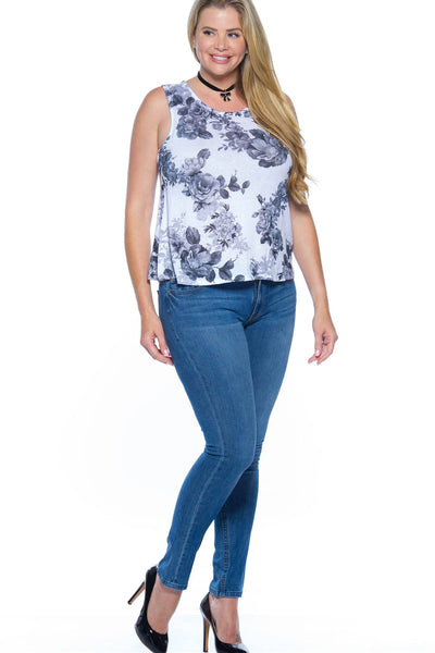 Ladies fashion plus size rose print sleeveless top-1XL-MY UPSCALE STORE