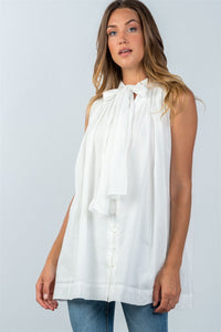 Ladies fashion oversized button down tie-neck babdydoll top-White-S-MY UPSCALE STORE